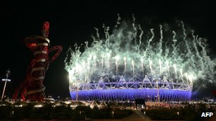 Fireworks light up the Olympic Park during the closing ceremony in London