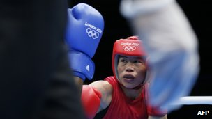 Indian boxer Mary Kom in the ring