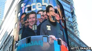 Mark Zuckerberg on a screen in Times Square 