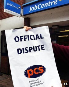 PCS poster and Jobcentre