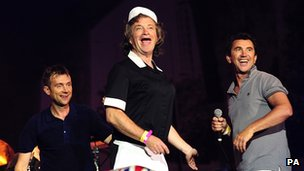 Blur singer Damon Albarn, Harry Enfield and Phil Daniels