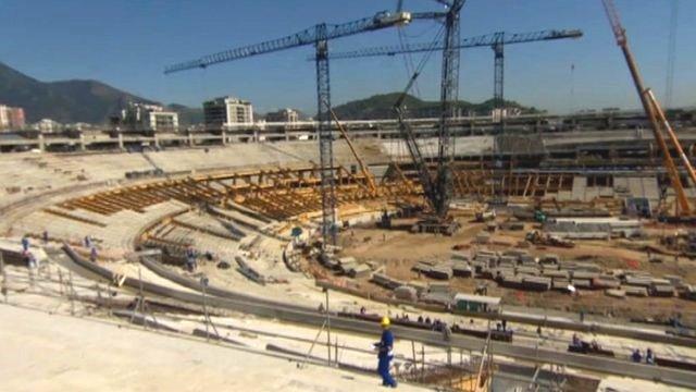 Construction at the Maracana Stadium in Rio de Janeiro