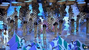 Dancers from Brazil perform during the London Olympic Games 2012 Closing Ceremony at the Olympic Stadium, London.