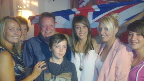 Jade Jones with her mother Jayne (far left), grandfather Martin Foulkes, and other friends and family members at a party to wish her luck before London 2012