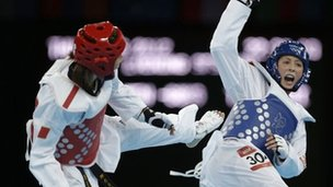 Jade Jones wins an Olympic gold taekwondo medal at London 2012