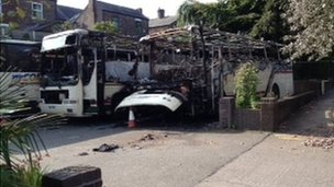 Coaches damaged in fire