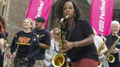 YolanDa Brown takes part in Sax Machine