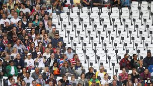 Empty seats in the Olympic Stadium