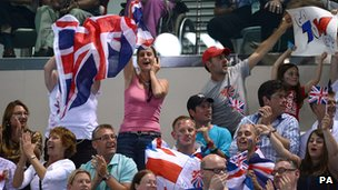 Team GB fans supporting Tom Daley