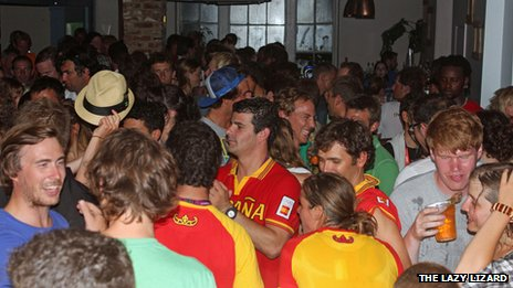 Spanish Olympic sailors at The Lazy Lizard in Weymouth