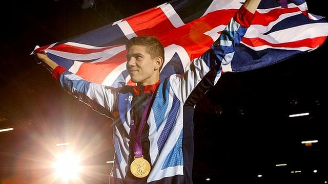 Luke Campbell celebrating Olympic gold