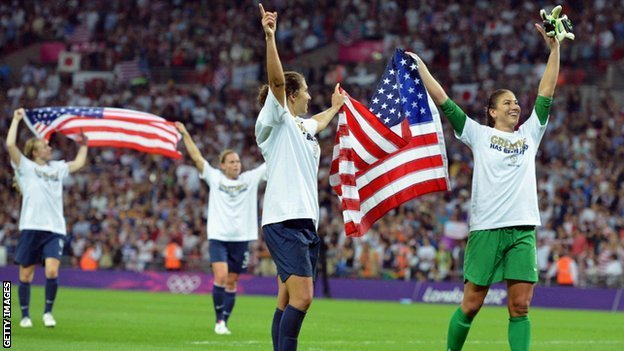 US women's football team celebrate