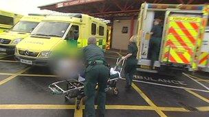 Ambulances outside Bristol's Frenchay Hospital
