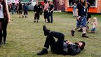 Man asleep at Bloodstock Festival