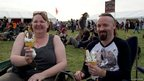 Two music fans enjoy ice creams at Bloodstock 2012