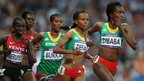 "(L-R) Jepkemoi Jepkemoi Cheruiyot of Kenya, Gelete Burka of Ethiopia, Meseret Defar of Ethiopia and Tirunesh Dibaba of Ethiopia compete in the Women""s 5000m Final"