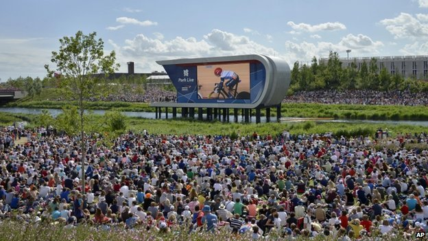 Big screen at the Olympic park