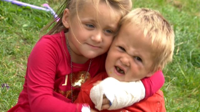 Four-year-old Rhianna Ireland with her brother
