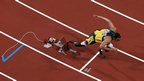 South Africa's Oscar Pistorius runs the final leg of the men's 4x400m relay final