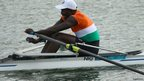 Niger's Hamadou Djibo Issaka competes in the men's single sculls finals