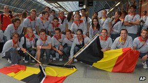 Eurostar waves farewell to the Belgian Olympic Team at St Pancras International in London