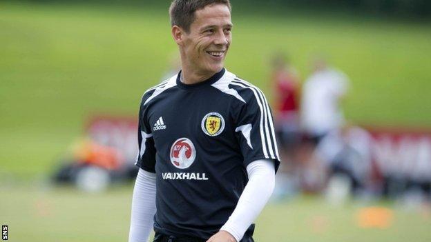 Ian Black is all smiles at Scotland training