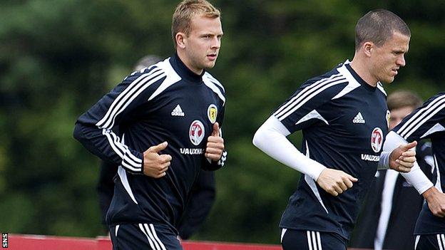 Jordan Rhodes trains with Scotland