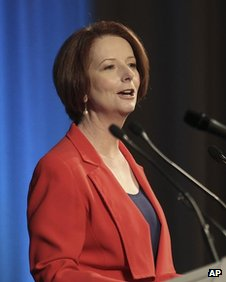 Australia's Prime Minister Julia Gillard speaks to the Energy Policy Institute of Australia in Sydney, Australia, on 7 August, 2012