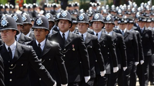 Police officers graduating