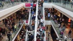 Shoppers at Westfield shopping centre (file photo)