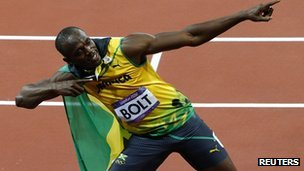 Usain Bolt celebrates