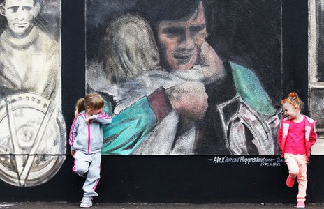 Former Sandy Row resident, Alex 'Hurricane' Higgins, is among those featured on the artwork