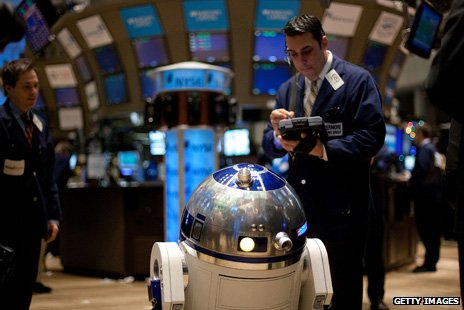 R2D2 visits the New York Stock Exchange 