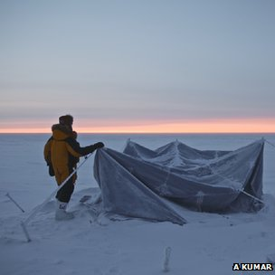 Tent-pitching in the Antarctic