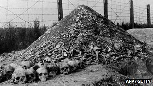 A pile of human bones and skulls  in 1944 at the Nazi concentration camp, Majdanek
