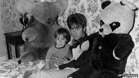 John Lennon with his son Julian in their home in Weybridge in 1968
