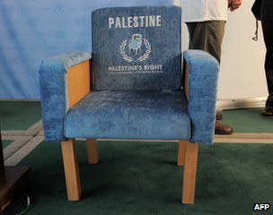 A mocked-up chair at the UN in New York saying: &quot;Palestine&#039;s right: full membership of the United Nations&quot;.
