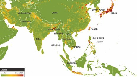 Map showing the economic exposure of Asian nations in 2012 (Image: Maplecroft)