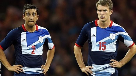 Wales' Neil Taylor and Aaron Ramsey at the Olympics