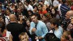 Hungary's pommel horse gold medallist Krisztian Berki in crowd