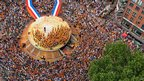 Aerial view of ceremony honouring the Dutch Olympic team in Den Bosch (13 August)