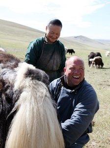 (L-R) Milking a Yak. Gansuvd, Craig Notman