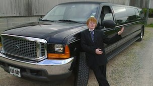 David Langton-Gilks with a limousine sent by Rays of Sunshine Charity
