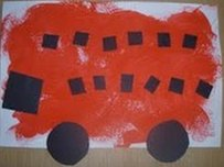 A bus painted by two-year-old Nicholas Love, inspired by the travels of his grandmother Jo Hunt
