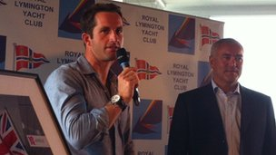 Ben Ainslie at the royal Lymington yacht club