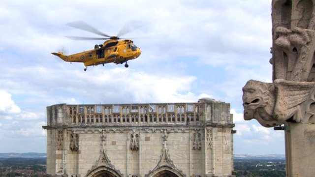 RAF helicopter hovering over York Minster