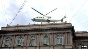 President Fernando de la Rua leaves the Casa Rosada in a helicopter in 2001