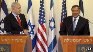 Israeli Prime Minister Benjamin Netanyahu and US Defence Secretary Leon Panetta in Jerusalem 1 August 2012