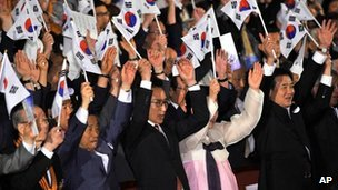 South Korean President Lee Myung-bak during a ceremony marking the anniversary of the end of Japan&#039;s colonial rule over Korea from 1910-45, in Seoul, South Korea, on 15 August, 2012