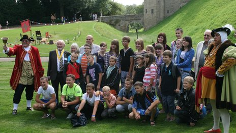 Children from group at Warwick Castle